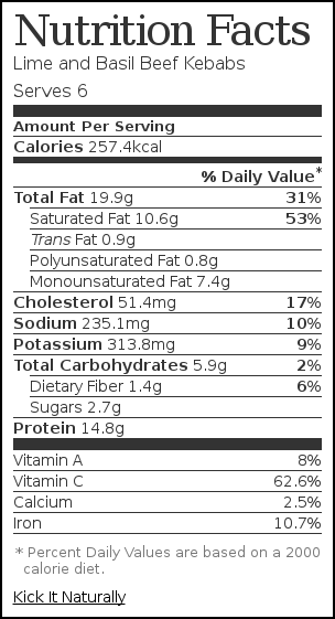 Nutrition label for Lime and Basil Beef Kebabs
